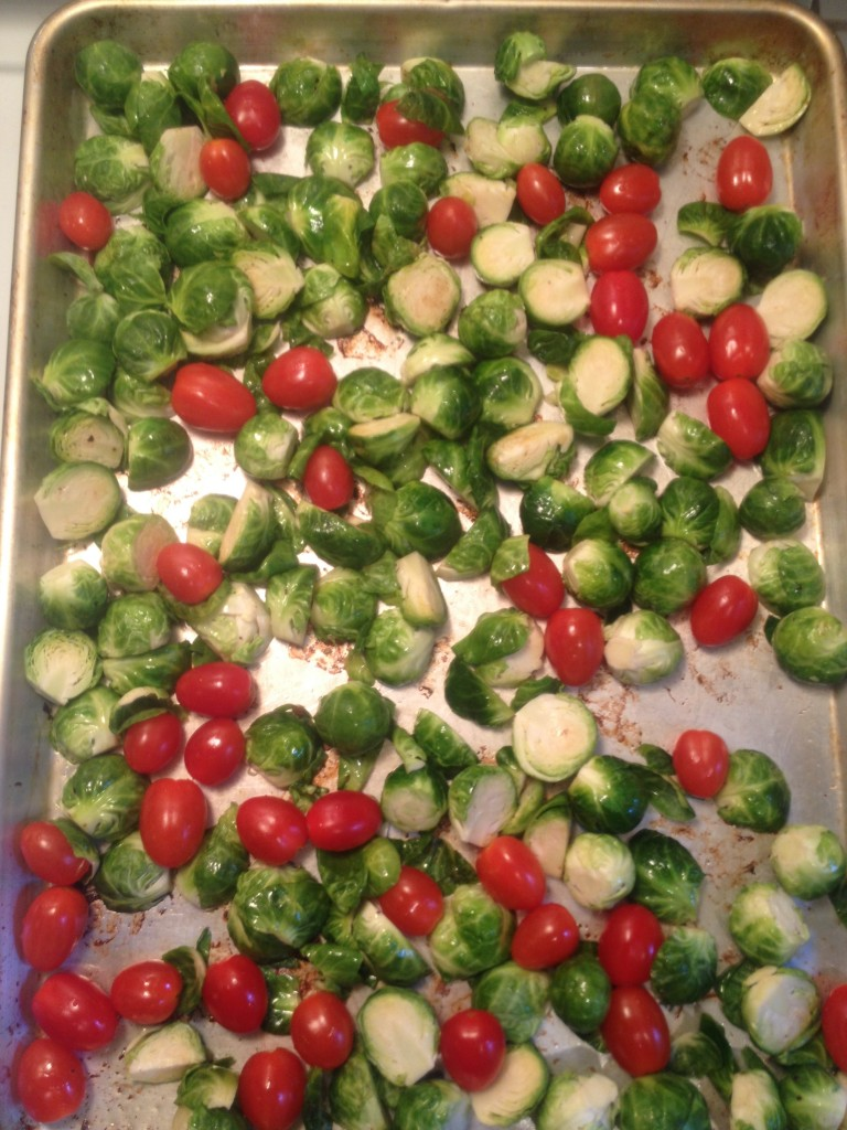Burssel sprouts and tomatos