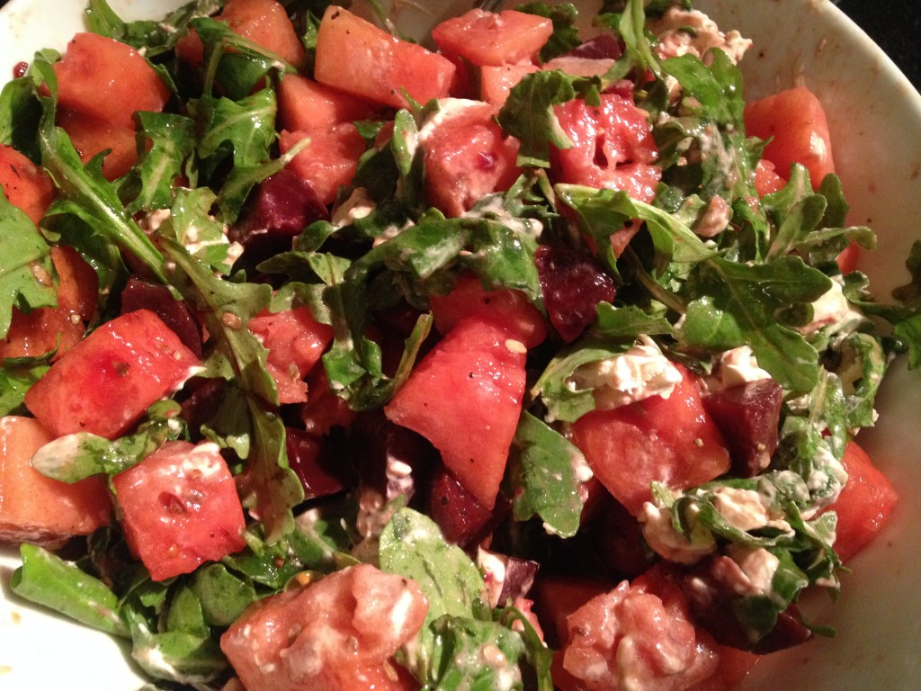 Salad: Watermelon and Beets Layered with Goat Cheese and Arugula ...