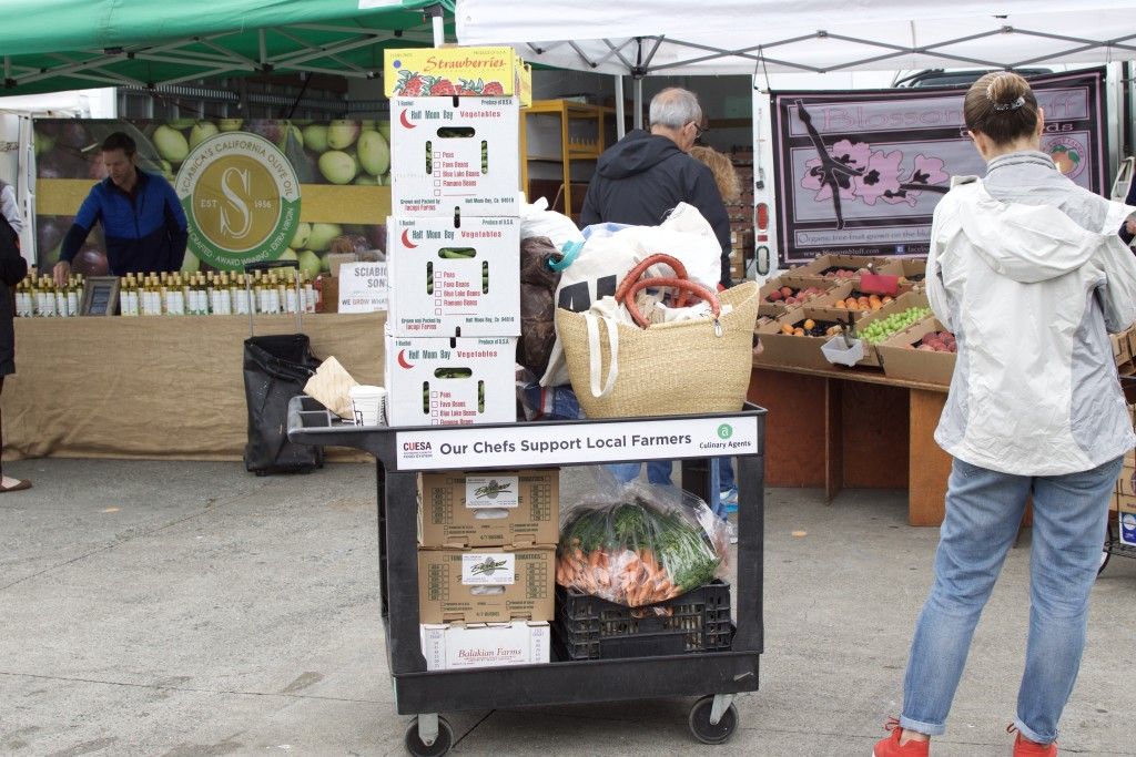 Cart of produce from farmer's market for local SF restaurant | BeatsEats.com
